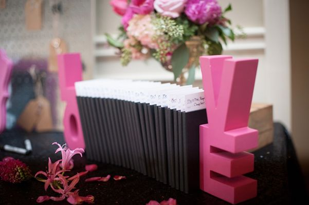 Magenta and Black  Whimsical Wedding
