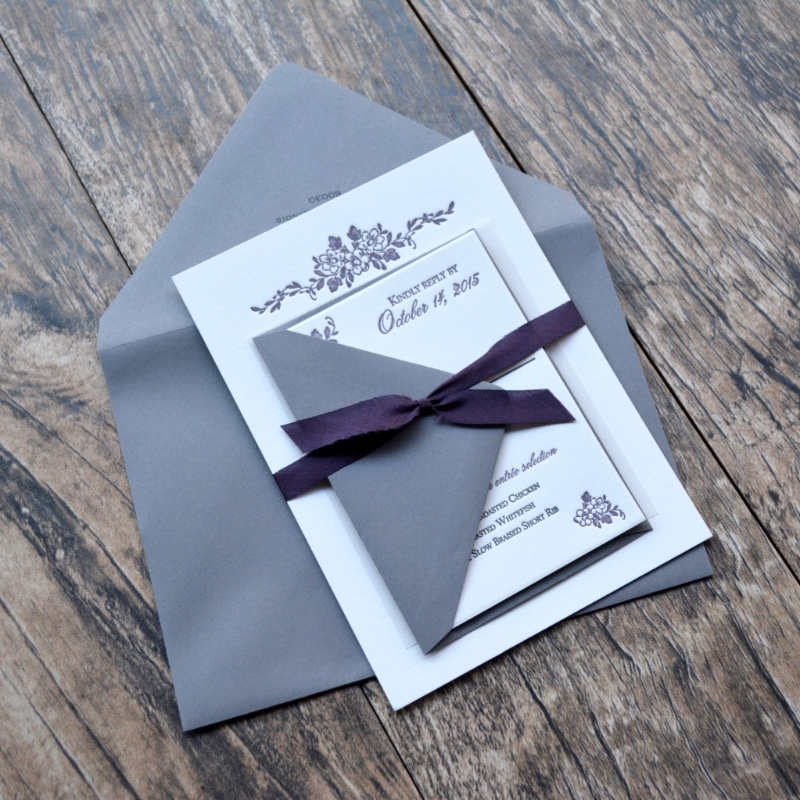 Dusty purple and gray letterpress wedding invitation suite by Lucky Invitations.