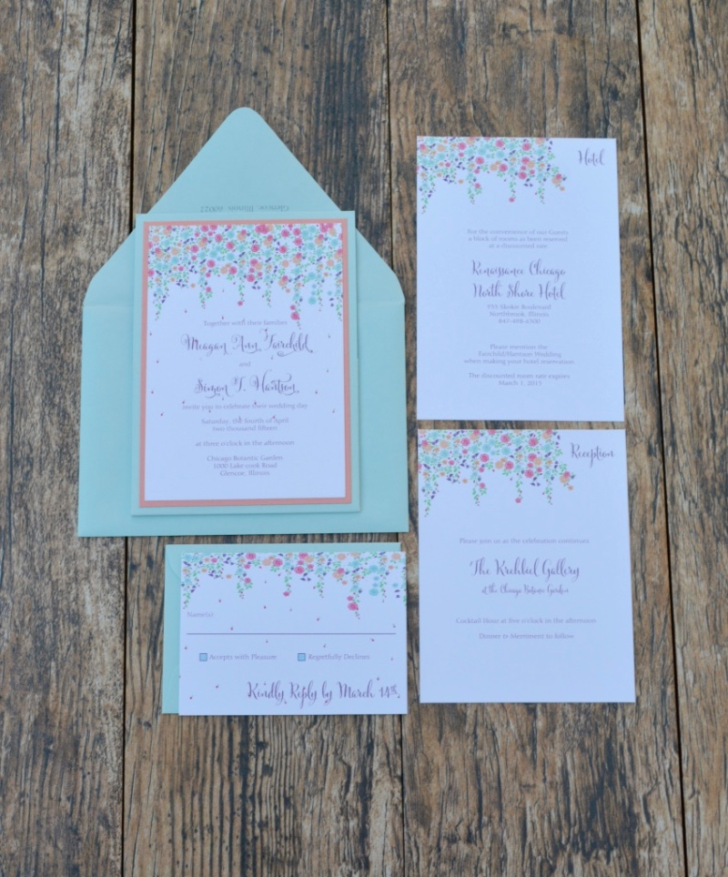 Beautiful summer floral wedding invitation suite by Lucky Invitations.