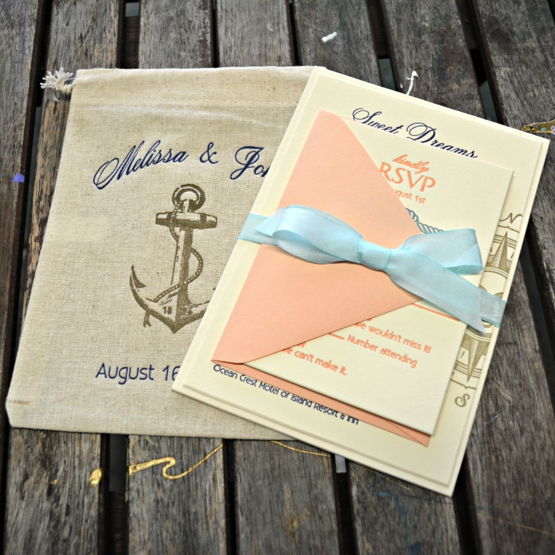 Adorable nautical wedding invitation suite by Lucky Invitations.