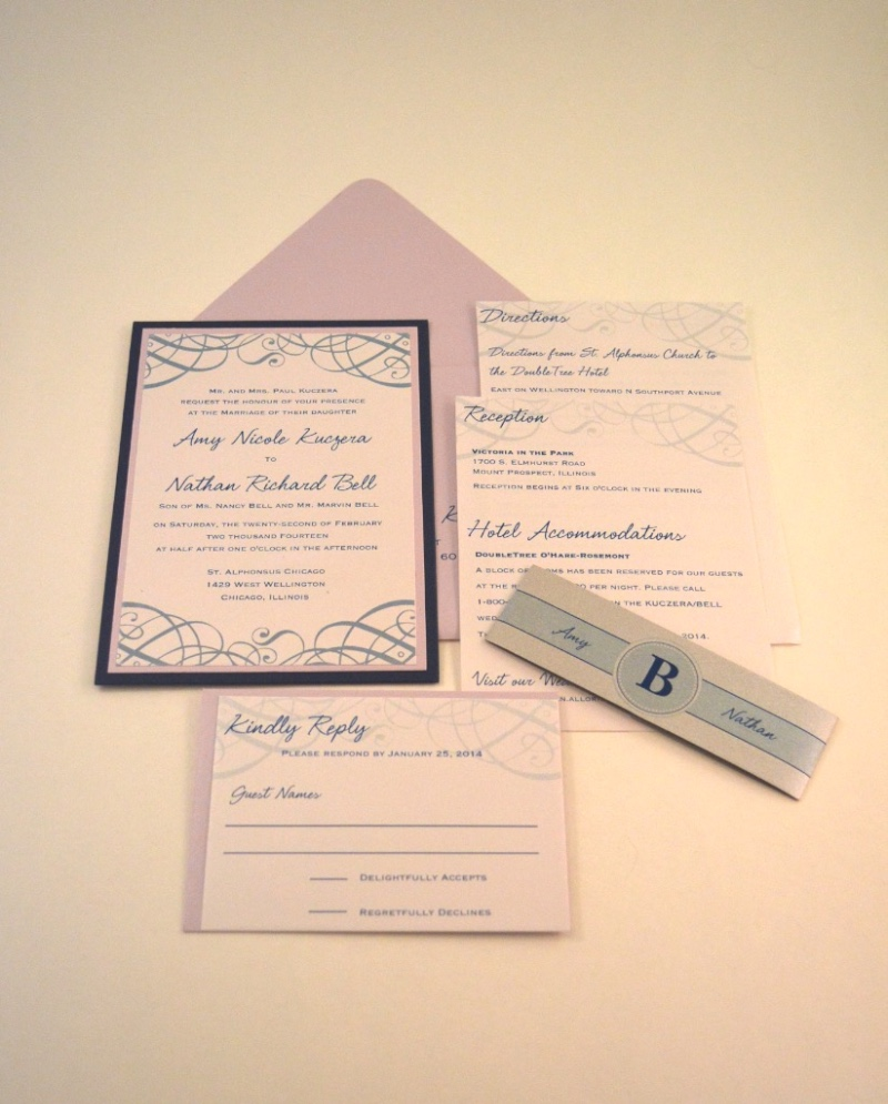 A classic wedding invitation suite in navy blue and lavender by Lucky Invitations.