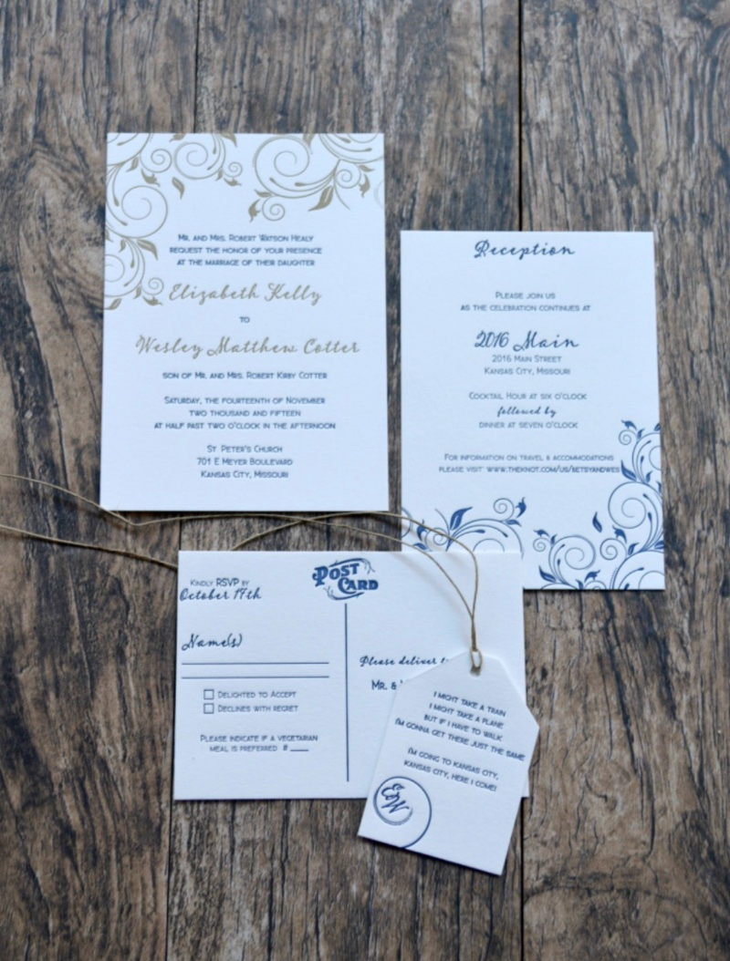 Classic letterpress wedding invitation suite in navy blue and gold with a cute RSVP Postcard by Lucky Invitations.