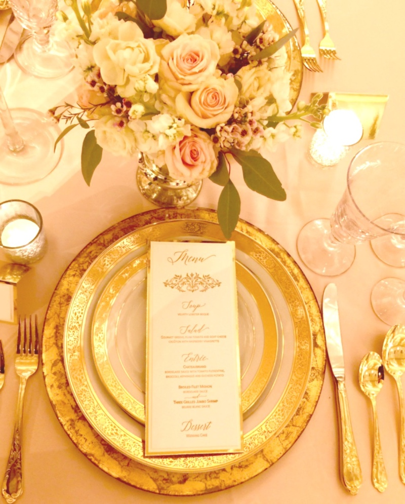 Swoon over this gold and blush wedding tablescape. Letterpress menu by Lucky Invitations.