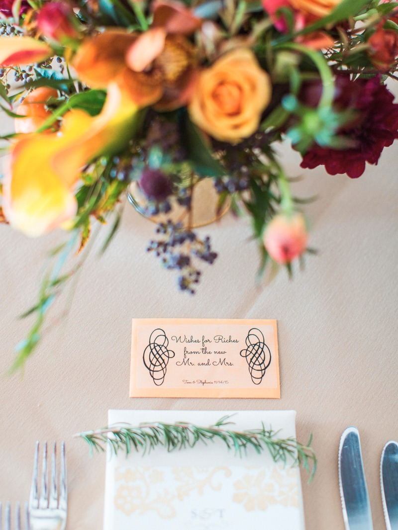 Winter and gold aesthetic for these place settings for a Santa Barbara Club Wedding.