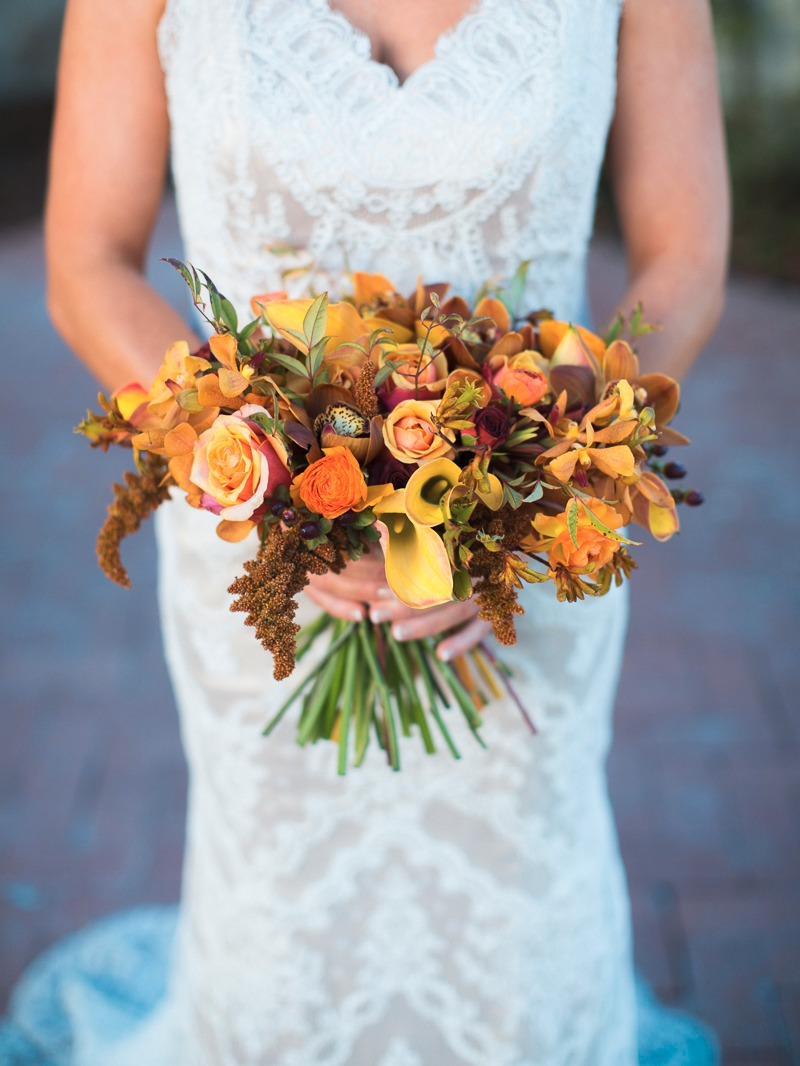 Winter colors for this bride and her bouquet and the Santa Barbara Club.