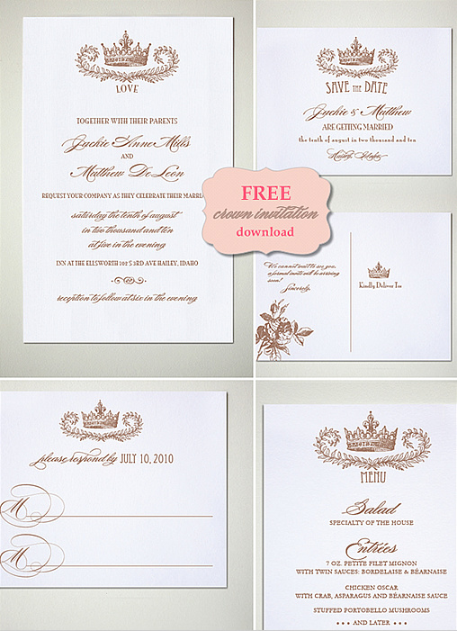 Free Crown Weddding Invitation