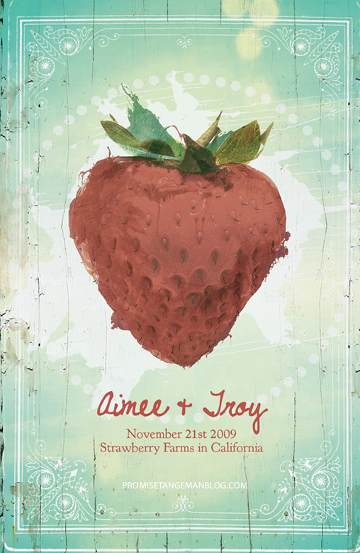 strawberry wedding invitation