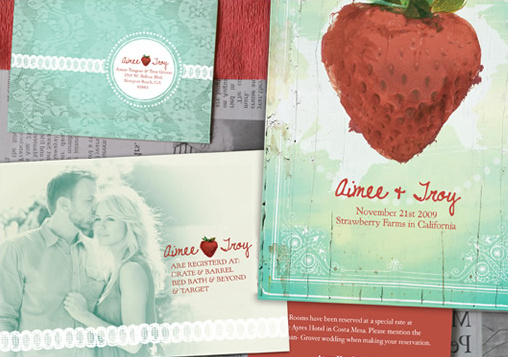 strawberry wedding inviations