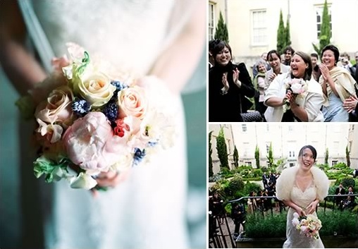 tossing the wedding bouquet
