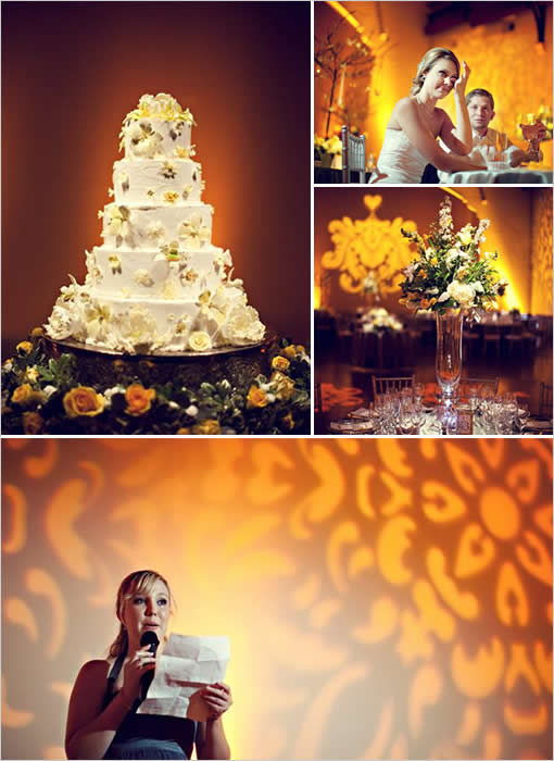 gray and yellow wedding reception