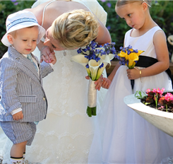 Adorable ring bearer in seersucker