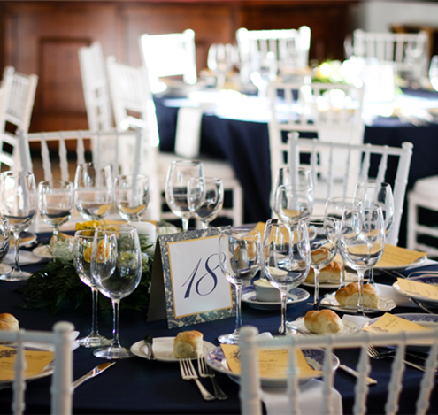 Navy blue and white table design