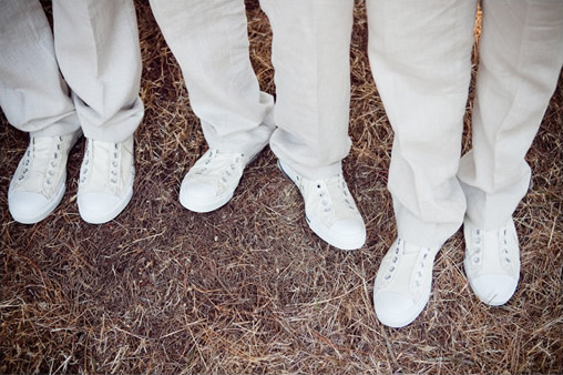 white groomsman shoes