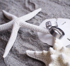 wedding rings shot with starfish