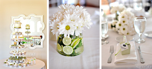 wedding details, green, yellow, daisies