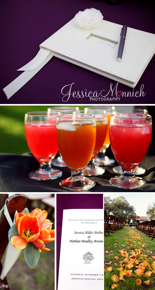 Clink austin texas, Clink wedding, Austin Texas wedding, Austin wedding photographer, Jessica Monnich Photography, wedding guest sign-in book, signature drinks, wedding aisle decoration, wedding program