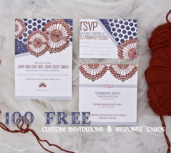 100 Custom Wedding Invitations & Response Cards From Julia's Poppies