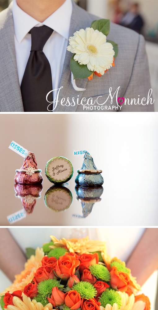 Austin wedding, Whole foods flowers, ring shot on top of Hershey's kisses, Allan House, Jessica Monnich Photography