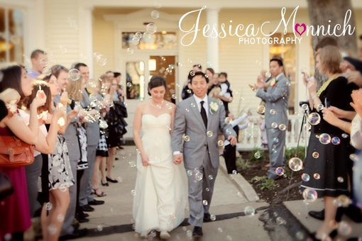 Austin wedding, Allen House wedding, bride and groom leaving wedding, bubble exit, Jessica Monnich Photography
