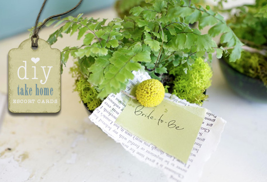 Eco Friendly Do It Yourself Wedding Favors and Escort Cards