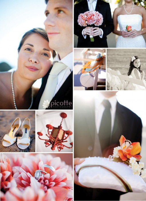 a lovely beach wedding . picotte photography