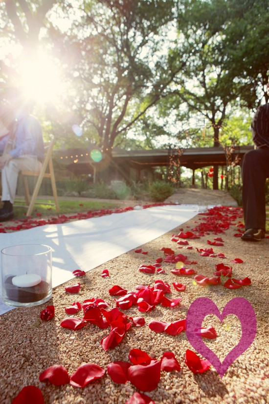Austin wedding, Vista on Seward Hill, rose petals on aisle, Jessica Monnich Photography