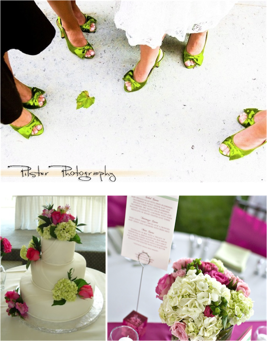 Hot Pink and Green Inspiration | from Real Weddings