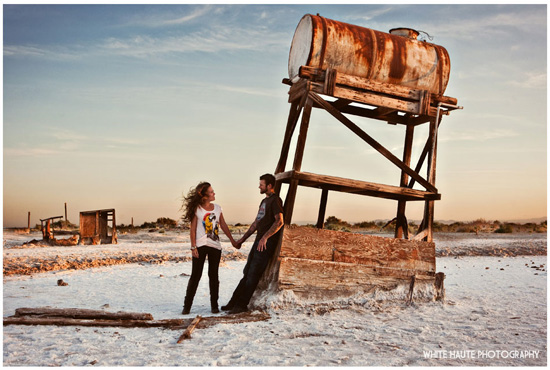 Weird, wild and White Haute Salton Sea engagement session