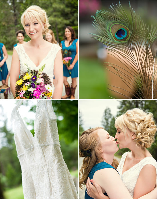 Oregon Backyard Wedding With Peacock Details