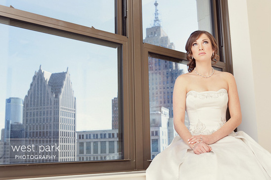 Bride in penthouse at Westin-Book Cadillac in Detroit