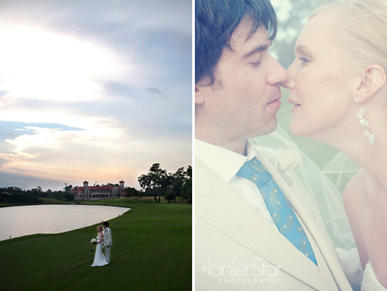 portraits of bride and groom on fairway at TPC Sawgrass