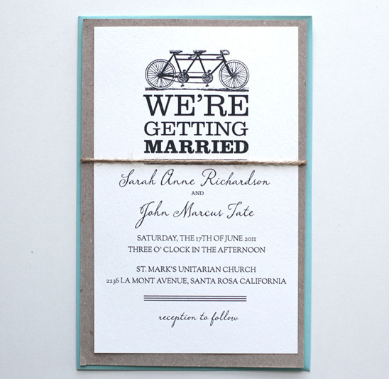 Tandem Bike Do It Yourself Wedding Invitations