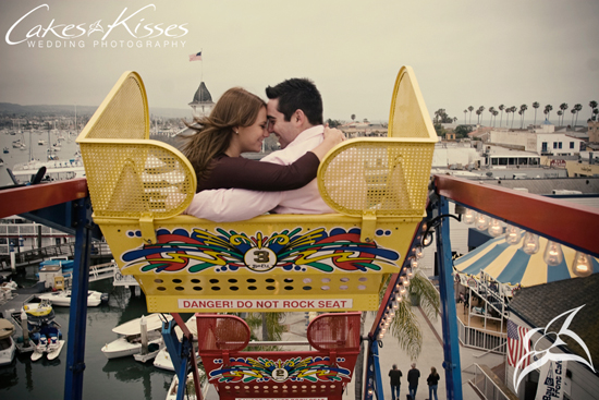 Ferris wheel ride and playing on the beach engagement at Balboa Island, CA