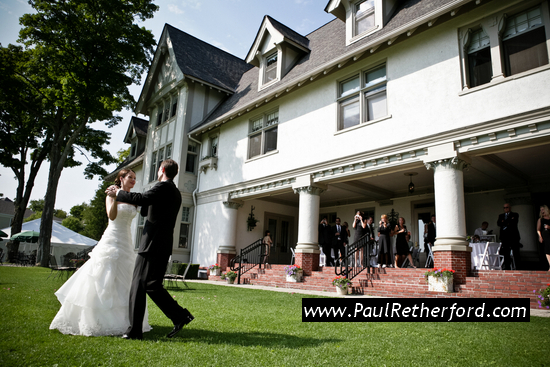 image of bride groom dancing mackinac island lawn