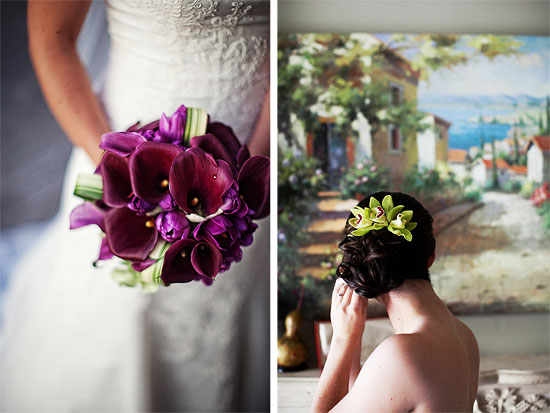 Bridal purple bouquet and bridal hair flower piece orchid