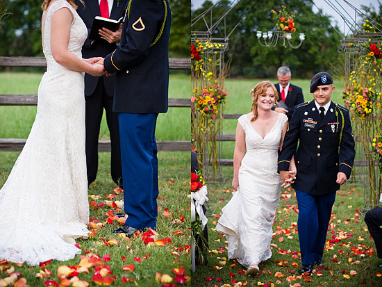 Beautiful, outdoor, autumn, military Texas wedding!