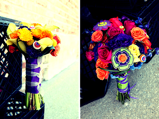 Fresh Flowers and Button Flowers So Happy Together