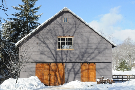 A Catskills Wedding Barn Pictured in the Snow