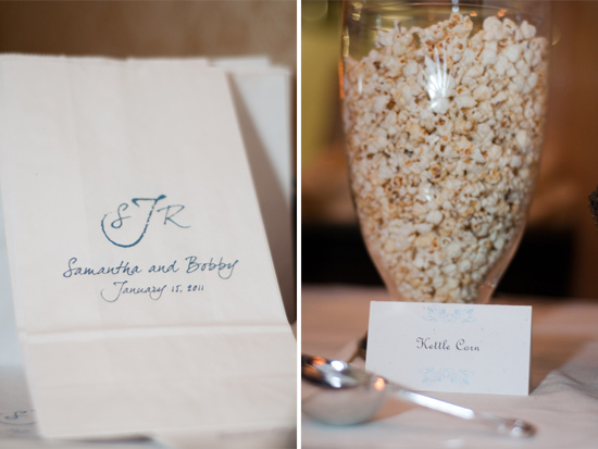 Popcorn bar at wedding