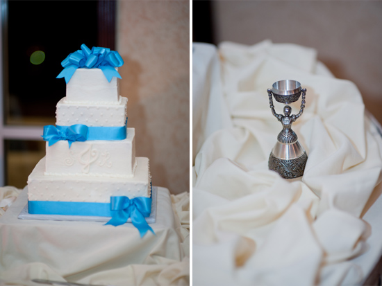 Wedding cake with ribbon trim