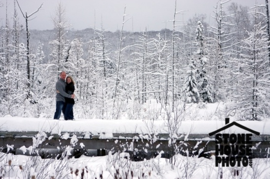 Winter engagements in 4 feet of snow