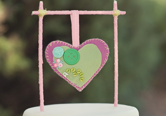 Do It Yourself Two Sided Felt Heart Pillow Cake Topper