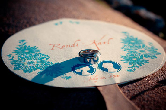 custom made fans for outdoor texas wedding