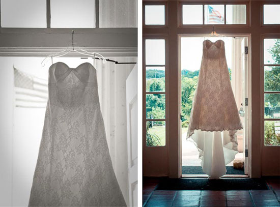 vintage wedding dress hanging from doorway in austin tx