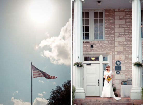 beautiful bride standing on the stoop of austin texas mansion