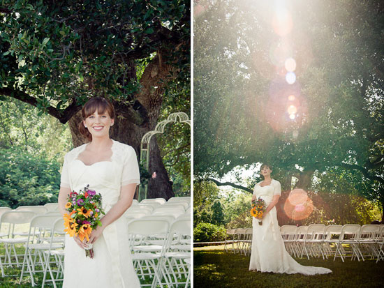 bridal portrait under oak tree with sun bursts