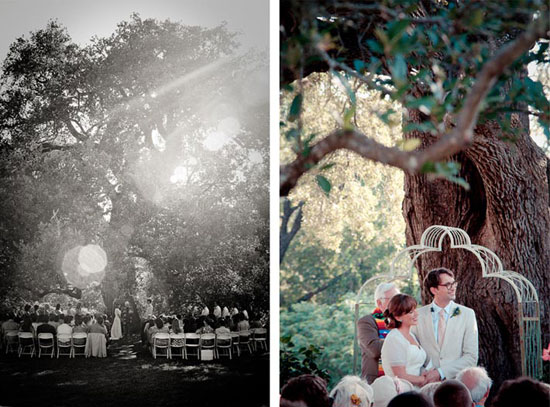 outdoor wedding under an old oaktree at sunset