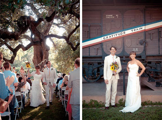 bride and groom walking away from outdoor alter by oak tree