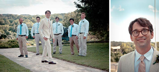groomsmen in kakhi pants and blue ties