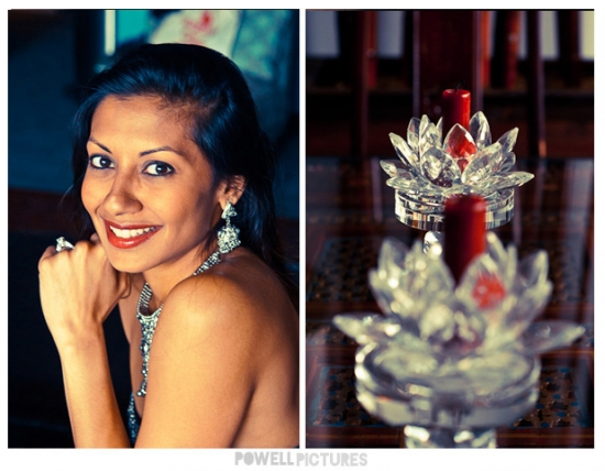 close up of indian woman with lotus candle holders